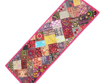 Pure Cotton Traditional Beaded Tabl e Runner Patchwork Throw Indian