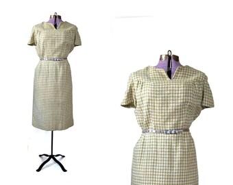 50s Dress / Wool Dress / 1950s Dress / Green Dress / Houndstooth Dress /  Plus Size Winter Dress / Vintage Clothing Dress / Women Dress Day