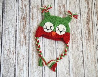 Baby christmas crochet sleepy owl hat, christmas photo prop