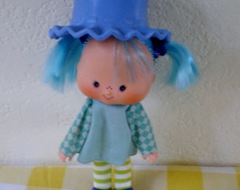 Vintage American Greetings Strawberry Shortcake Blueberry Muffin Doll  5 inch  Doll 1980s Epsteam