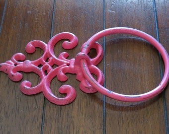Shabby Chic Towel Ring / Hand Towel Cast Iron Hanger / Hot Pink or Pick Color / Shabby Chic Cottage Chic Bathroom Decor /Fleur de Lis Accent