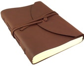 """Large Leather Photo Album with Gift Box Leather Scrapbook Album Genuine Vintage Rustic Picture Book 9x12"""" Brown Holds 200 4x6"""" or 5x7"""" Photo"""