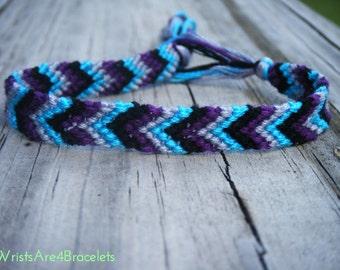 Chevron Friendship Bracelet - Black, Light Blue, Silver, Purple