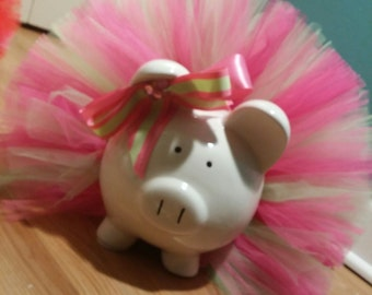 Large Pink and Green Jeweled Tutu Piggy Bank