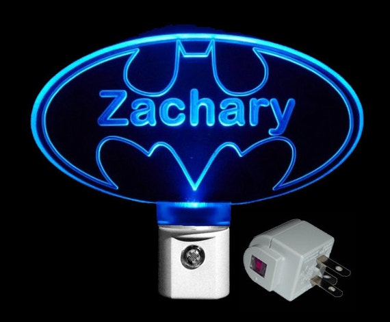 Kids Personalized Batman Led Night Light By Uniqueledproducts