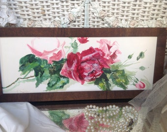 Gorgeous antique shabby chic cottage boudoir watercolor of pink roses