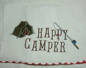 Happy Camper Theme Embroidered Burp Cloth