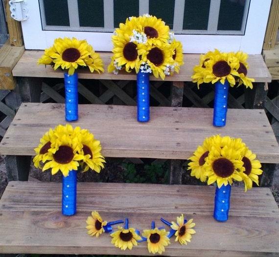 Sunflower Wedding Bouquet Ideas: Sunflower Wedding Bouquet 17 Piece Rustic Sunflower Bouquet