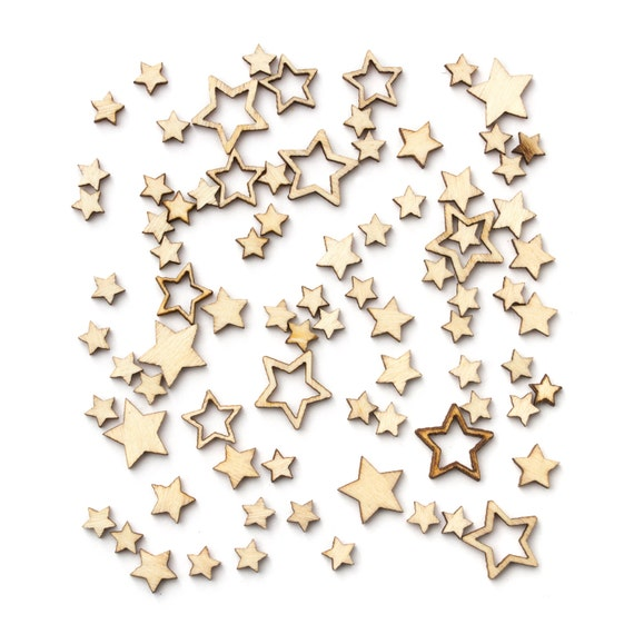 Studio Calico - Essentials Collection - Wood Veneer Stars - 262 pieces