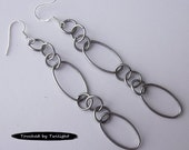 Antique Silver Oval Chain Earrings - 3 Inches Long