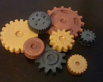 Chocolate Steampunk Gears Cake & Cupcake Toppers (1 dozen)