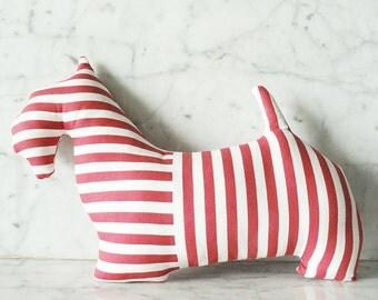 Pink Red Striped Scottie Dog Mini Throw Pillow / Scottie Dog Doll