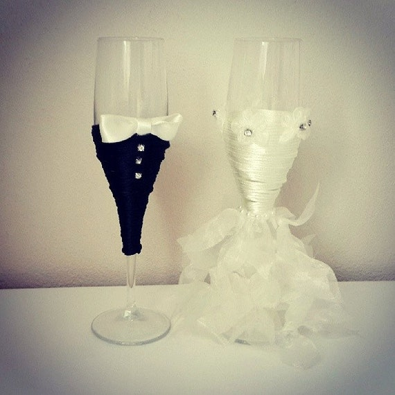 Bridal Shower Gift, Bride And Groom Wine Glasses, Wedding Glasses ...