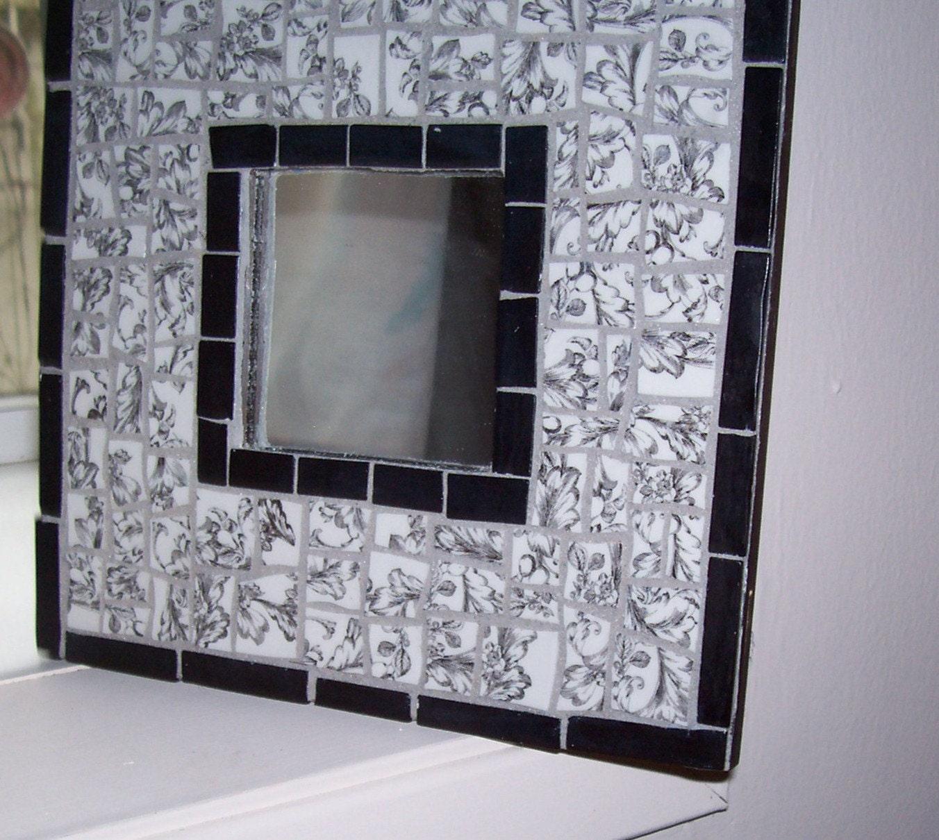 mosaic mirror black and white broken china mirror wall. Black Bedroom Furniture Sets. Home Design Ideas