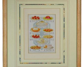 Dinner Dishes Print Illustration Framed Vintage English