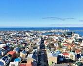 Islande Photographie Photographie Skyline, maisons, toit coloré Top, impression de Format moyen, 5 « x 5 »