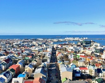 "Iceland Photography, Skyline, Houses, Colourful Roof Top Photography, Medium Format Print, 5"" x 5"""