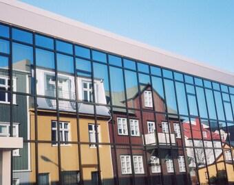 """Iceland Photography, Reykjavik Reflections, Icelandic Street Photography, Architecture, 8"""" x 10"""""""