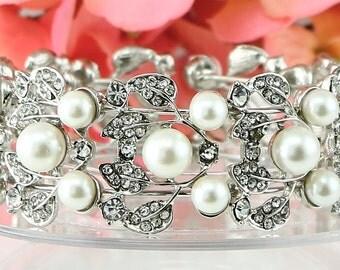 Bridal Bracelet Wedding Bracelet Silver Pearl Wedding Bracelet Bridal Jewelry Wedding Jewelry Bridal Accessories Style-119-145