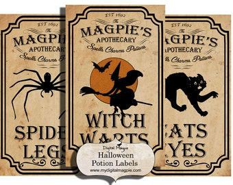Halloween potion labels apothecary labels for jars bottles tags and scrapbook embellishment vintage witch spider
