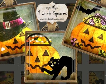 Halloween digital 1 inch squares collage sheet printable for pendants and other jewelry