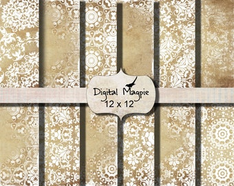 12x12 digital scrapbook paper shabby chic antique vintage printable instant download gold beige white textured