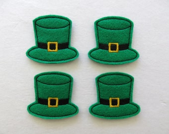 "Leprechaun Hat Felt Embellishment, St Patrick's Day,  set of 4, Felties, 2"" x 2"""