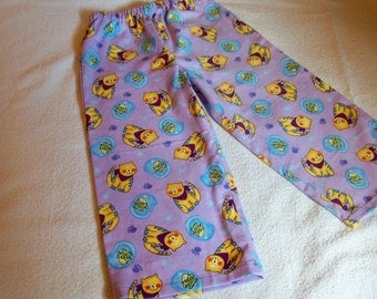 Children's Flannel Lounge Pants / Pajama Bottoms - Tabby Cat And Fishes - Size 4/5 - An Original Lucy Littles Creation
