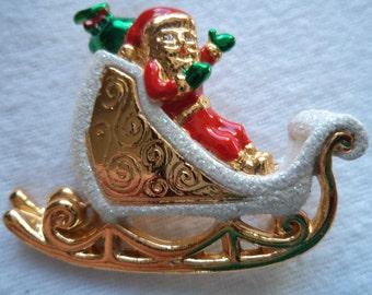 Vintage Unsigned Goldtone/Sparkle Santa on Sleigh Brooch/Pin