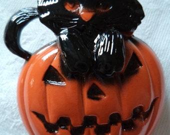 Vintage Signed Danecraft Black Cat on Pumpkin Brooch/Pin