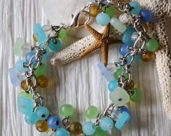 Beach bracelet of blues, greens, and yellow recycled glass, ocean bracelet, summer bracelet
