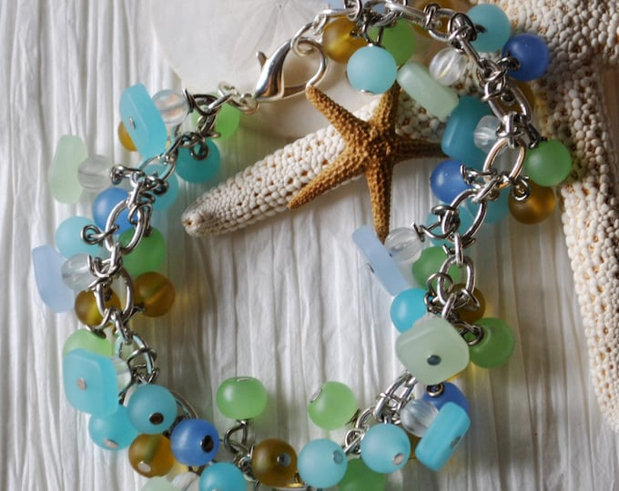 Beach bracelet of blues, greens, and yellow recycled glass, ocean bracelet, summer bracelet
