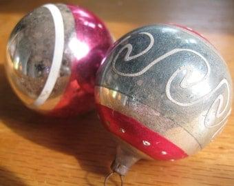 Set of  Two Vintage Christmas Balls,  Pinks // Swirls
