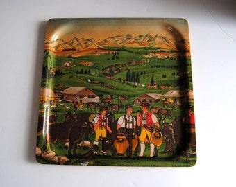 Vintage 50s Swiss Switzerland Tray by Platex