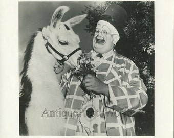 Clown with llama and flowers fun vintage circus art photo