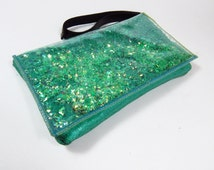 Turquoise Clutch Bag Turquoise Leather Purse Glitter Wristlet Purse in Mermaid