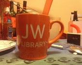 Custom Orange Coffee Mug sandblasted with JW Library