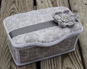 Large Grey Damask Boutique Wipe Case/Bridesmaid Gift Travel Make Up Case/Bathroom Storage