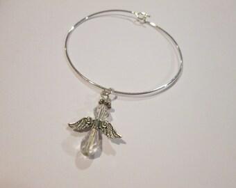 Angel above stackable wire bangle bracelet