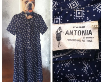 Vintage navy button up dress
