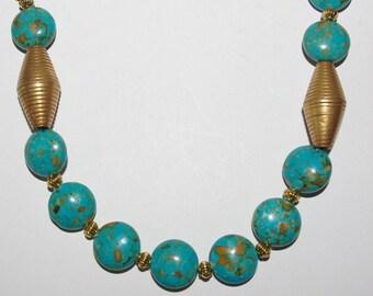 Handmade Beaded Necklace Turquoise Mosaic Magnesite    - S132
