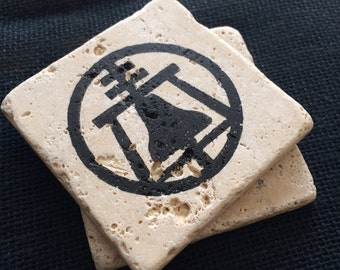 Hand Stamped Raincross Symbol Coasters