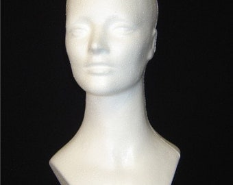 """TWO (2) #6176W 15""""H White MANNEQUIN Head Forms-Unisex by POLLY Products Co."""