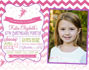 Ombre chevron Fairy Garden Birthday Printable Invitation