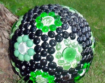 Bowling Ball Mosaic, Yard Art, Garden Sphere, Gazing Ball, Black and Green Garden Decor