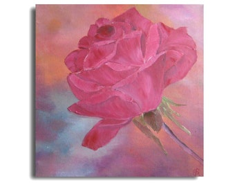 rose painting, flower painting, red rose, wall hanging, home decor