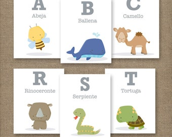 Animal Alphabet Flash Cards SPANISH 4X5in.