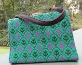 Welsh Wool Handbag - Purple and Green - Made in Wales - Kelly Bag - Wool Purse - Mod Bag - Welsh Tapestry - Clutches Evening Bag