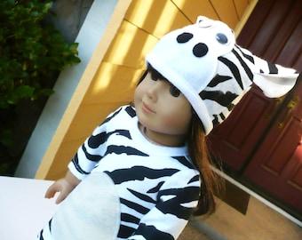 American girl doll, Halloween Costume,  Animal Suit, Kigurumi, Animal Hat., Zebra.