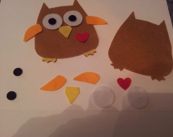 Felt die cuts,Large Owls,toppers,Sizzix appliqué embellishments Felting